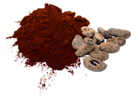 Powder and cocoa beans